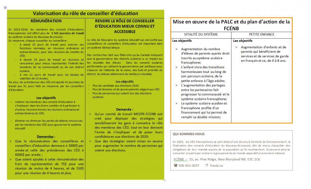 Priorités de la FCÉNB en bref 2017-2018 - page 2